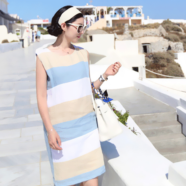 17dda76596 Sleeveless Cotton Linen Dress Elegant White Blue Striped Summer Dresses Midi  Boho Casual Simple Sundress Women