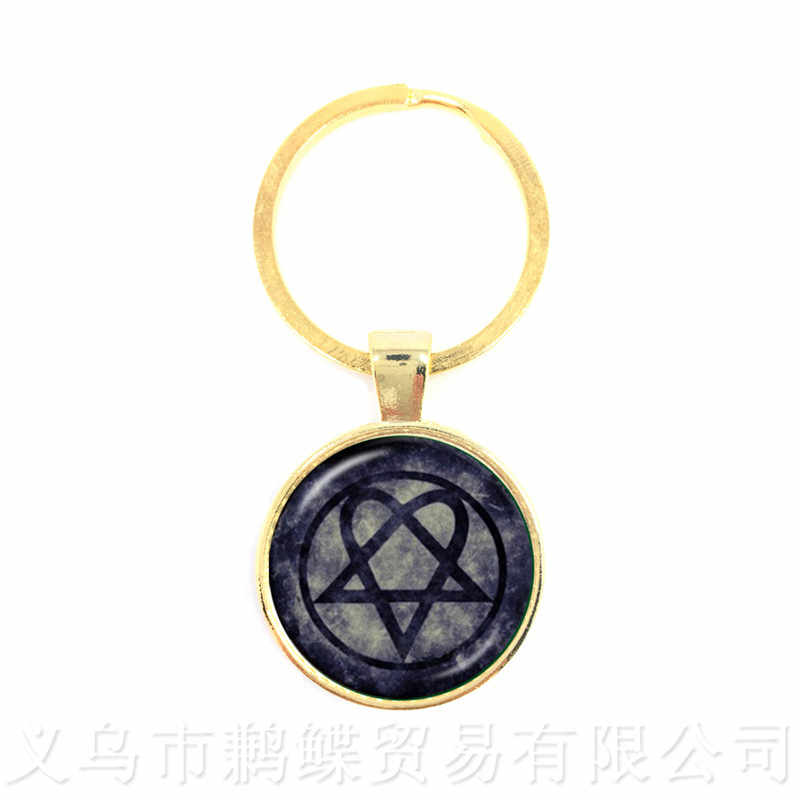 2018 Supernatural Pentagram Glass Keychains Gothic Pendant Satanism Evil Occult Pentacle Jewelry Pagan Charm Gift For Friends
