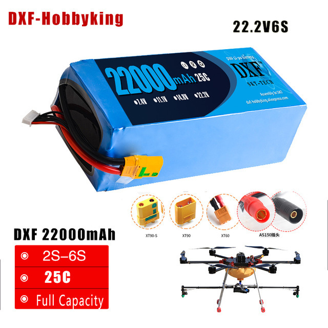 2018 DXF Lipo Battery 22.2V 22000mAh Lipo 6s 25C Battery EC5 Plug Batteries for Quadcopter UAV Drones RC Helicopter Drone