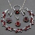 Impecável de Quatro Peças 925 Esterlina Conjuntos de Jóias de Casamento Das Mulheres Red Garnet Anel de Prata Tamanho 6/7/8/9/10 Comprimento Pulseira 17 CM JS21