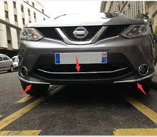 цена на Front Grill Grille + Bumper Corner Protection Trim for Nissan Qashqai 2014-2016