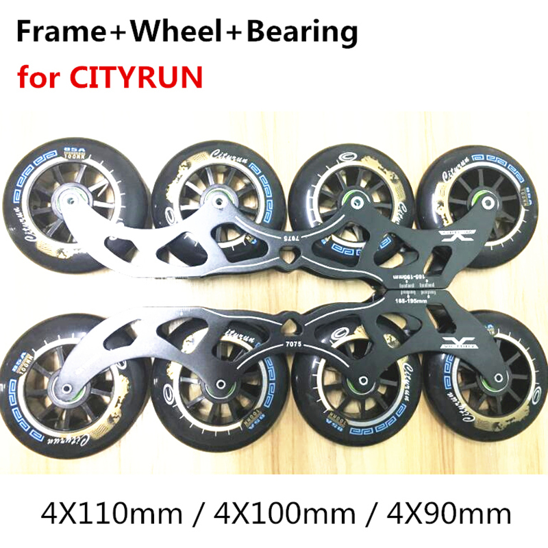 Inline Speed Skates Base with Wheel and Bearing for CITYRUN For MPC for Powerslide Track Rac 4X110mm 4X100mm 4X90mm 110mm Frame [7000 aluminium alloy] original vortex inline speed skate frame base for 4x110mm 4x100mm 4x90mm skating shoe bcnt sts cityrun