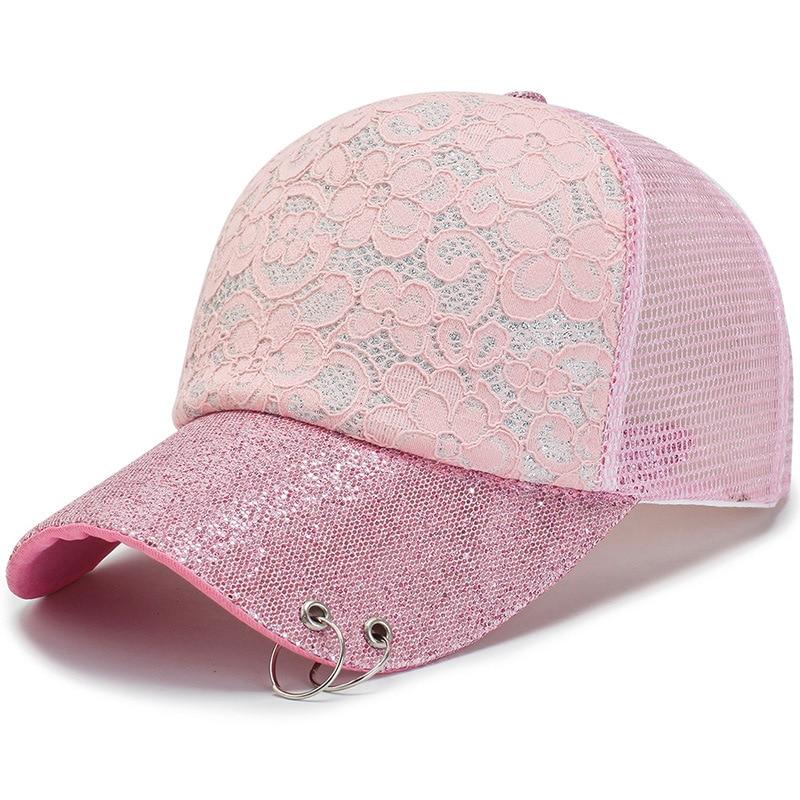 Women Snapback Mesh Baseball Cap With Lace Flower Curved Visor Shiny Sequin Ring Summer Glittering Trucker Hat Brilliant Lolita