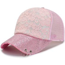 Women Snapback Mesh Baseball Cap with Lace flower Curved vis