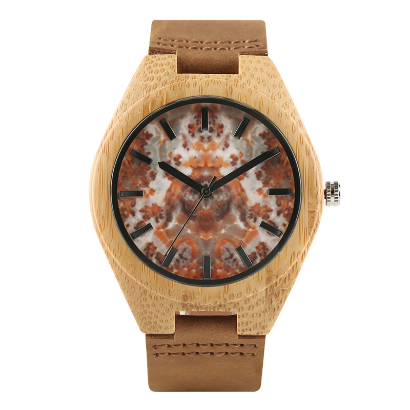 Vintage Men Women Wood Quartz Watch Genuine Leather Band Strap Wristwatch Nature Bamboo Marble Texture Dial Trendy Gift