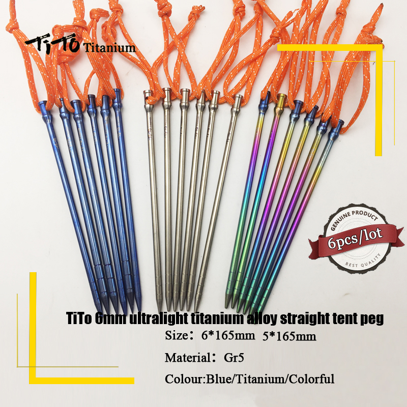 6pcs TiTo Titanium Alloy Tent Peg Titanium spike nail Outdoor C&ing Accessory Tent Stake Diameter 5.0mm/6.0mm tent peg-in Tent Accessories from Sports ...  sc 1 st  AliExpress.com & 6pcs TiTo Titanium Alloy Tent Peg Titanium spike nail Outdoor ...