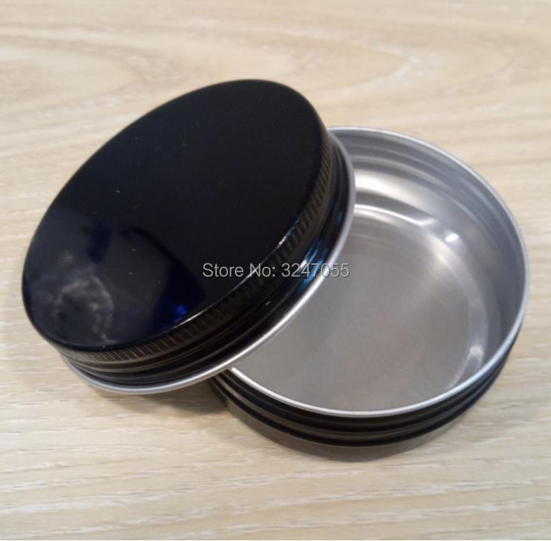 60ml 60g D68*H25mm Black Empty Metal Cosmetic Cream Jar, 2oz Aluminum Cosmetic Pot, Mask Storage Tin Case, Cosmetic Packagings survival kit tin higen lid small empty silver flip metal storage box case organizer for money coin candy keys