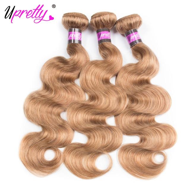 Upretty Hair Brazilian Body Wave Hair 3pcs Honey Blonde Non Remy