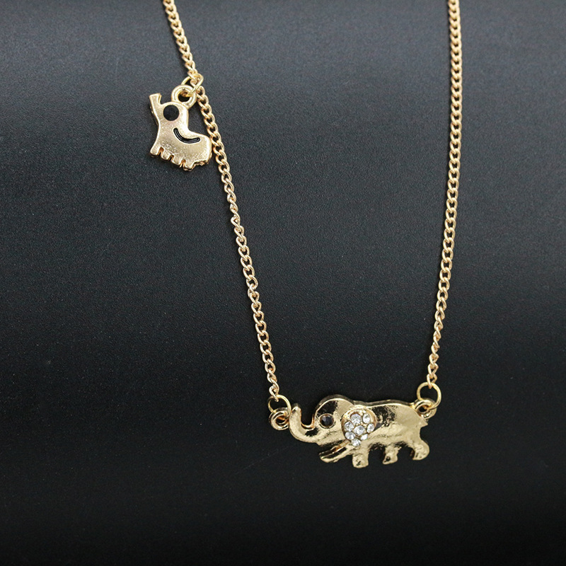 Double Elephant Necklaces Mom Baby Pendants Gold Rhinestone Crystal Animal  Charm Choker Link Clavicle Chain Women Jewelry-in Pendant Necklaces from  Jewelry ... fece84ef740a