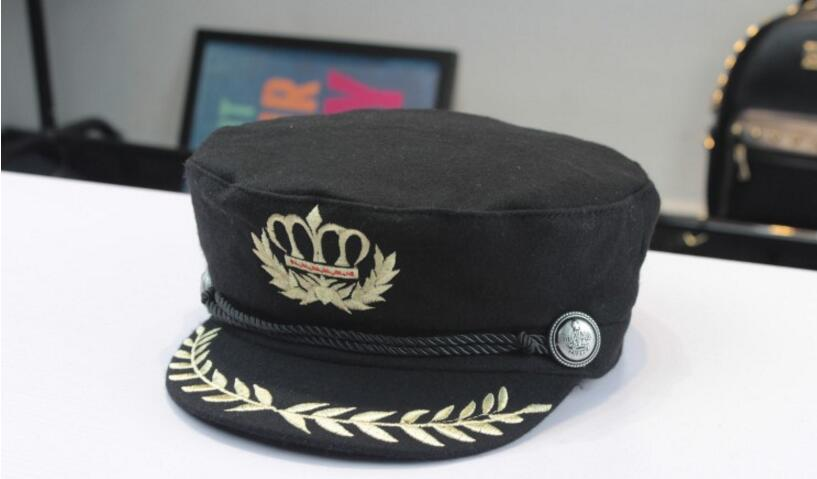 bed12f19b5cbd7 hats Crown Embroidered Badge Military Hats Flat Topped Unisex Navy Hats  Polyester Handsome Caps Four Seasons For People-in Visors from Women's  Clothing ...