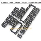High quality 64pcs/lot DIP IC Sockets Adaptor Solder Type Socket Kit Chip socket IC socket base 6,8,14,16,18,20,24,28,40,64