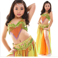 Kids Double Colors Belly Dance Set Top Skirt With Waist Chain Dance Belly Sexy Top Dance