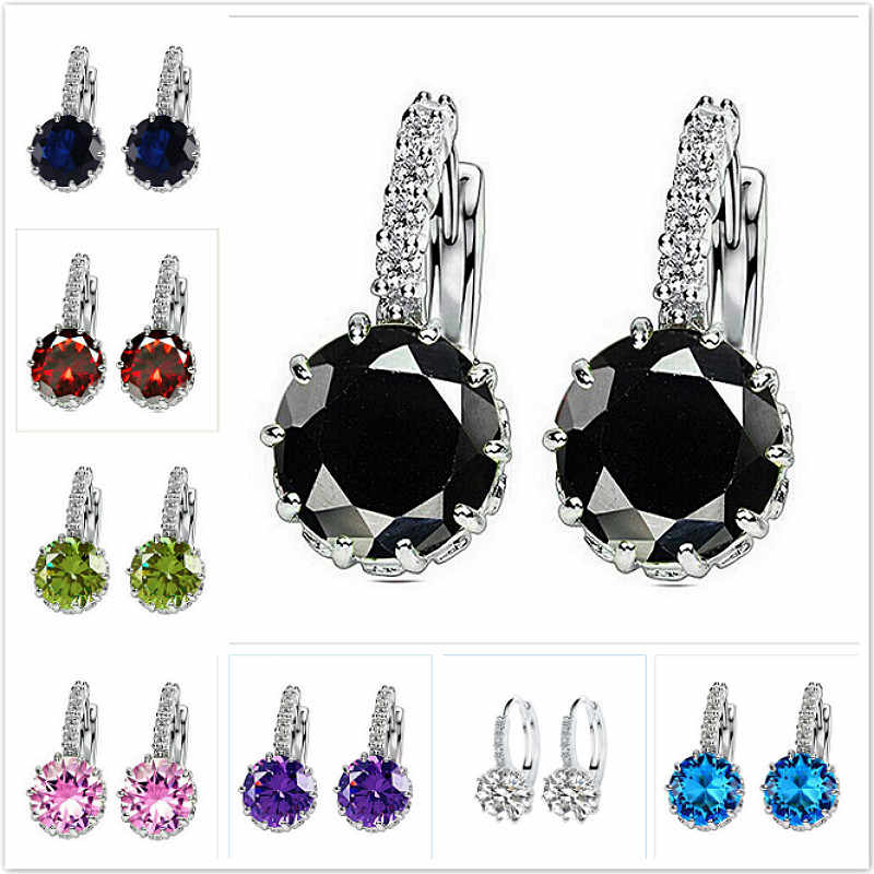 2019 New Blue Luxury Ear Drop Dangle Earrings for Women Round with Cubic Zircon Flower Earrings Women Jewelry
