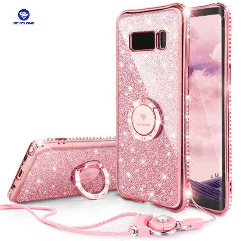 Pour Samsung Galaxy S8 Plus Cas Anneau S8 Diamant Couverture Pour Samsung Note 8 Cas Anneau Bling Couverture Pour Galaxy S8 Cas Glitter Violet