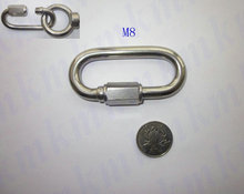 M8 high strength AISI304 stainless steel quick release chain link snap hook rigging hardware