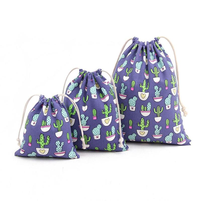 Cute Cactus Pattern Linen Cotton Storage drawstring Bags Backpack Baby Kids Toys Travel Shoes Laundry Lingerie Makeup Pouch 4