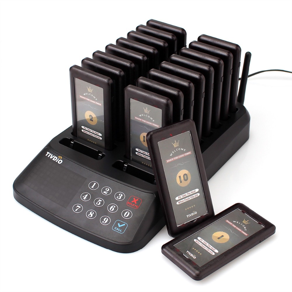 TIVDIO T-115 Restaurant Pager Wireless Calling Paging System Beeper Customer Service 18 Coaster Pager +1 Pemancar pad kekunci