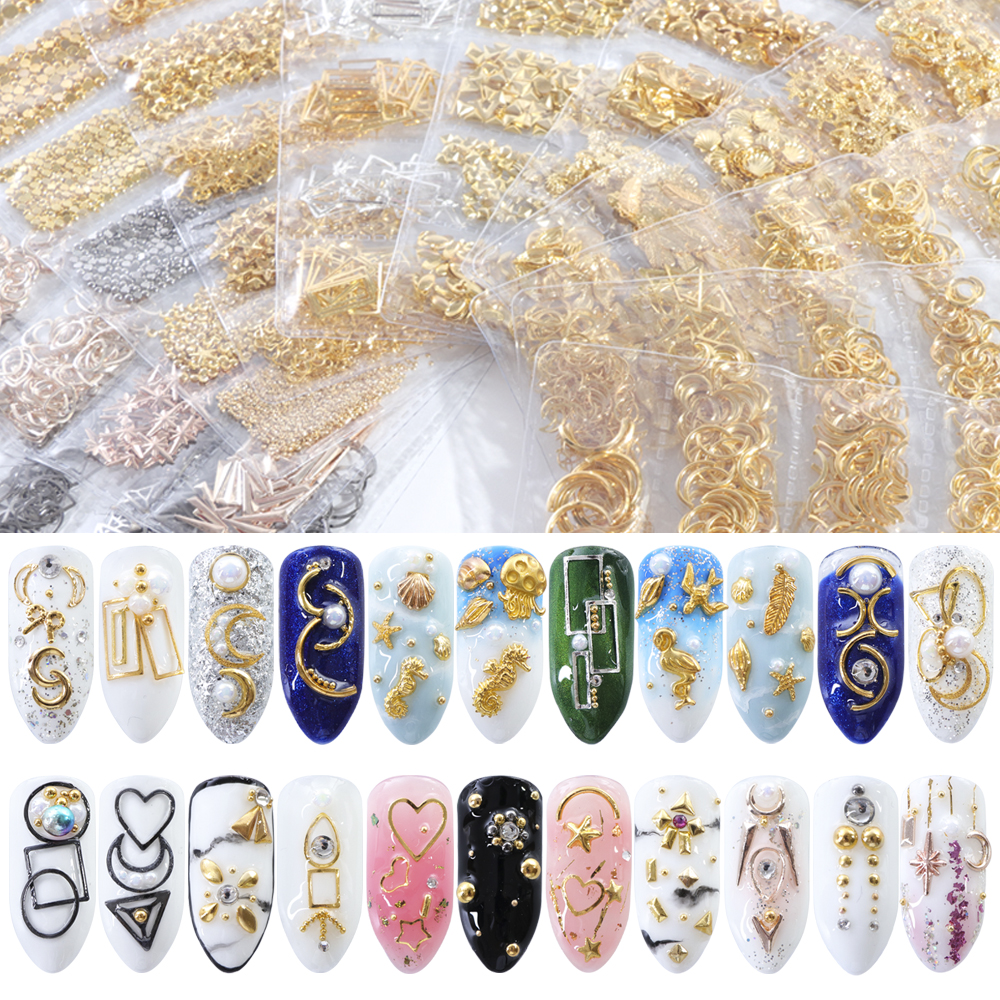 1 Pack Mixed 3D DIY Hollow Metal Frame Nail Art Decorations Gold Rivet Manicure Accessories DIY Shell Slider Nail Studs CH698 11