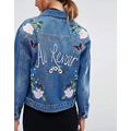 Fashion Autumn Women Embroidery Denim Jackets Turn Down Collar Long Sleeve Coat Pocket Single Breasted Brand Outerwear FHWM90