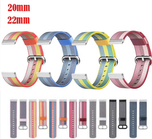 20mm 22 Strap For Samsung Galaxy Watch Active 42 46mm Gear Sport S2 S3 Huawei Watch GT 2 Pro Amazfit 1 2s Bip Pace Nylon Band