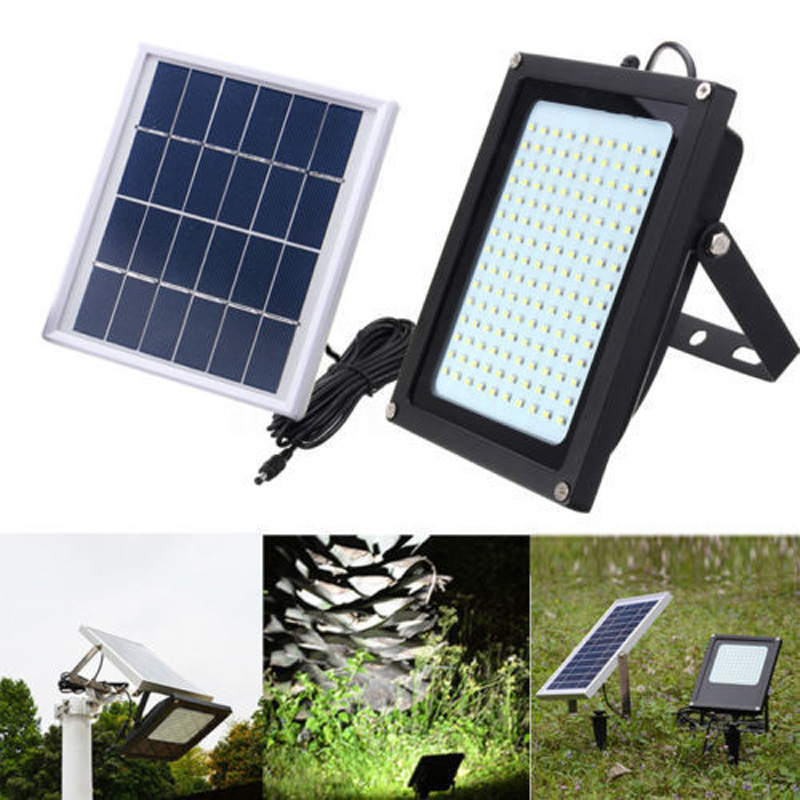 IKVVT 150 LED Solar Power Sensor Motion Flood Light Activated Outdoor Garden Path Lamp