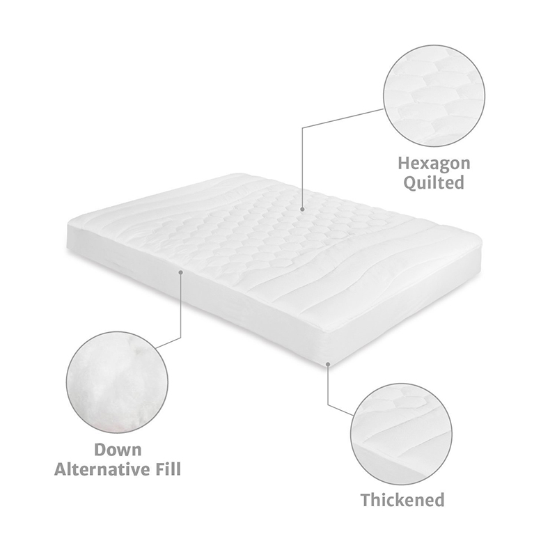 White Bed Protection Pad, Quilted Mattress Protector, Polyester Woven, Twin, Full, Queen, King 13