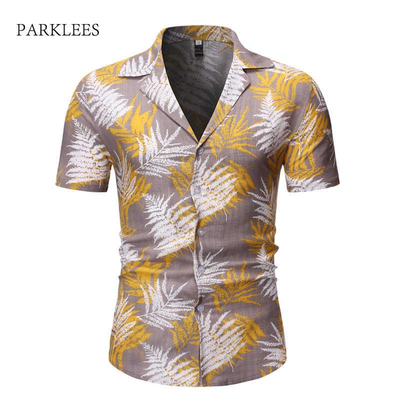 Новинка 2019, Мужская гавайская рубашка с коротким рукавом, летняя мужская повседневная Пляжная гавайская рубашка, вечерние праздничные рубашки Aloha Moda, большие размеры