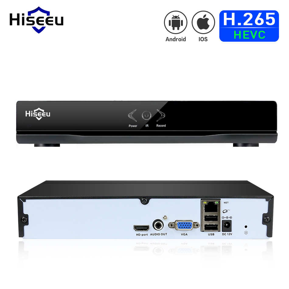 Hiseeu H.265 безопасности сети видео Регистраторы H.265 CCTV NVR 4CH 5MP 8CH 4MP безопасности NVR для H.265/264 IP Камера Onvif