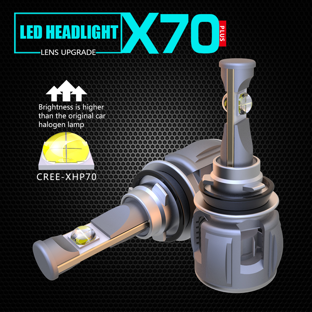 Small volume all in one IP68 waterproof white color 6000k 9012 H8 H9 H11 X70 CR-EE XHP70 LED auto headlight bulbs with Turbo fan