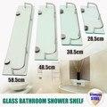 Vidro do Chuveiro Do banheiro Prateleira de Rack Organizador Titular Retângulo Camada de Hardware Banheiro Shampo de Frente do Espelho de Parede de Montagem Em Rack Prateleira