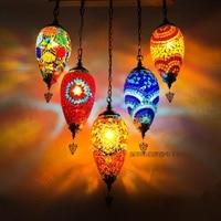 Newest 5 Heads Turkey Ethnic Customs Handmade Mosaic Lamp Romantic Cafe Restaurant Bar Tree Pendant Light