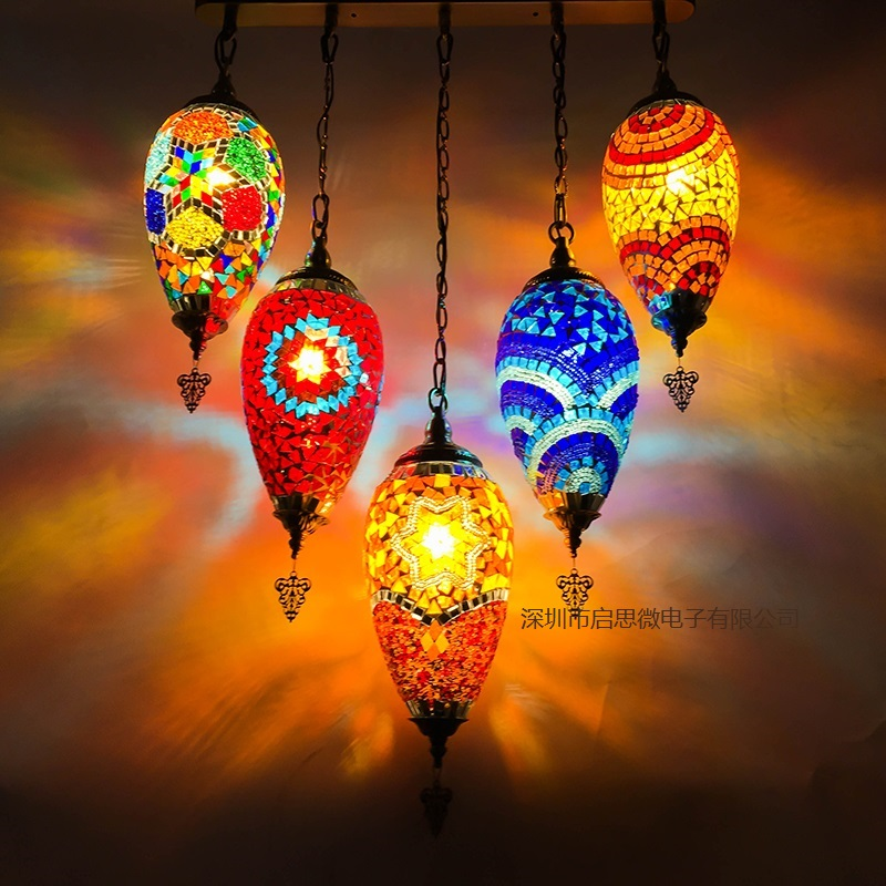 Date 5 têtes turquie ethnique douanes à la main mosaïque lampe romantique café restaurant bar arbre pendentif lumière bar suspension lampe