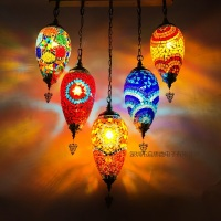 Newest 5 Heads Turkey Ethnic Customs Handmade Mosaic Lamp Romantic Cafe Restaurant Bar Tree Pendant Light