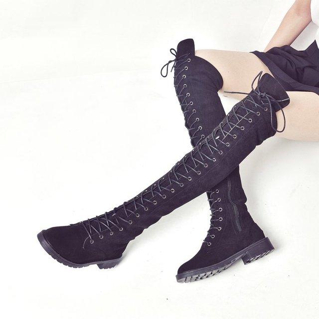 Новые сапоги выше колена на шнуровке женские сапоги обувь на плоской подошве женские сапоги из флока на квадратном каблуке зимние сапоги до...