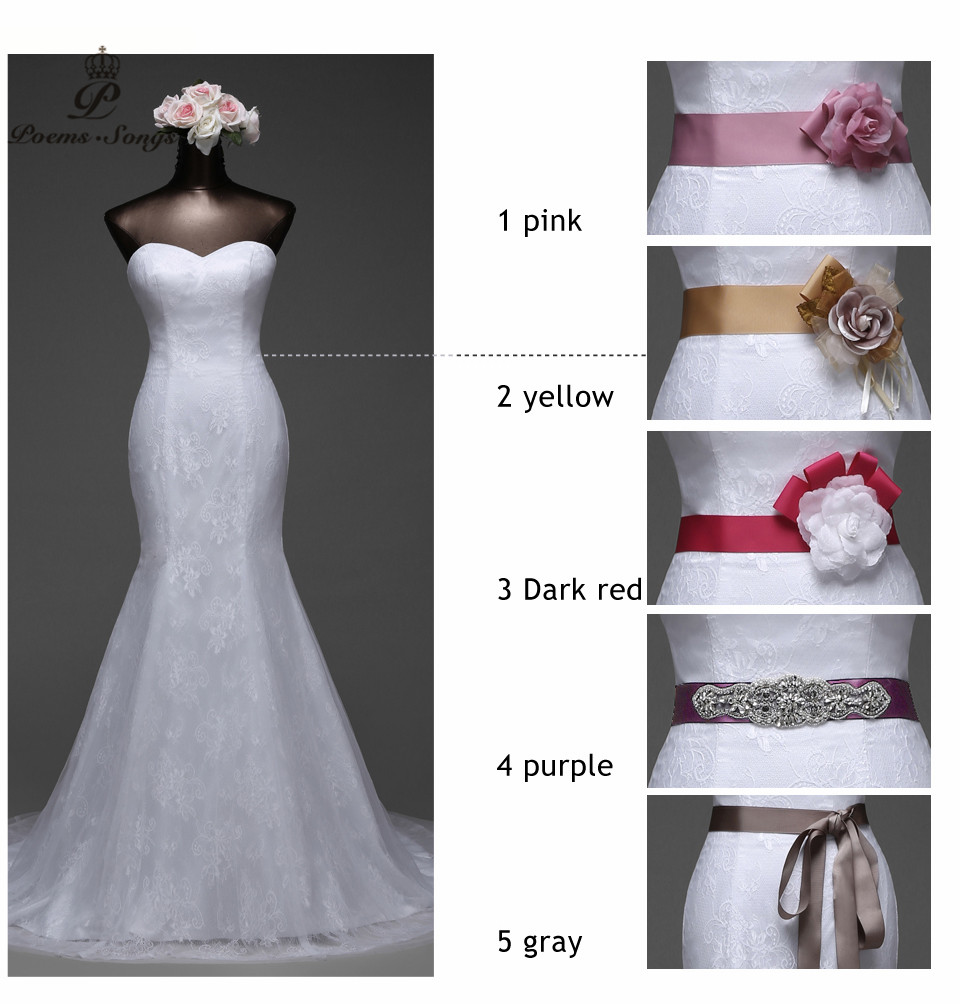 Poemssongs 2017 high quality lace white dress and Six colors Bridal ...