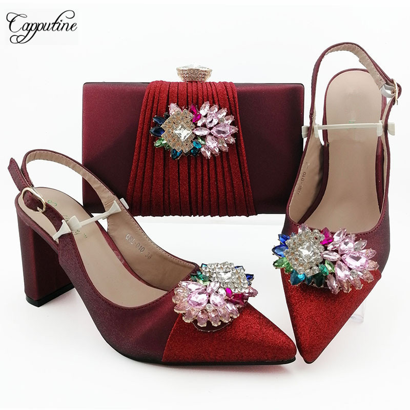 Nice wine and red high heel pointed toe shoes and evening bag set for wedding/party QSL010 heel height 9cm