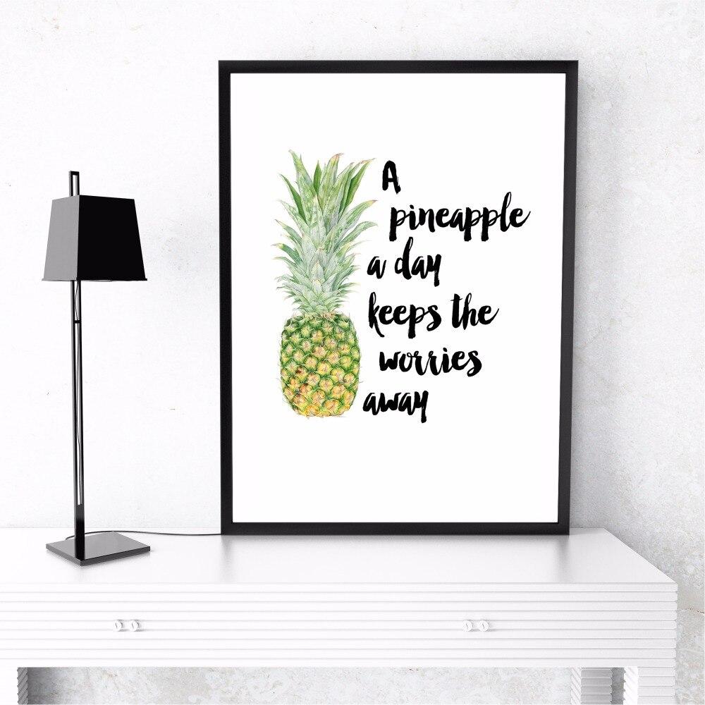 Ananas Quote Abstract Kətan İncəsənət Çap Rəsm Boyama - Ev dekoru - Fotoqrafiya 4