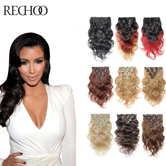 710 Pcs Remy Human Hair Extensions 24 Inch Blonde Hair Clip In