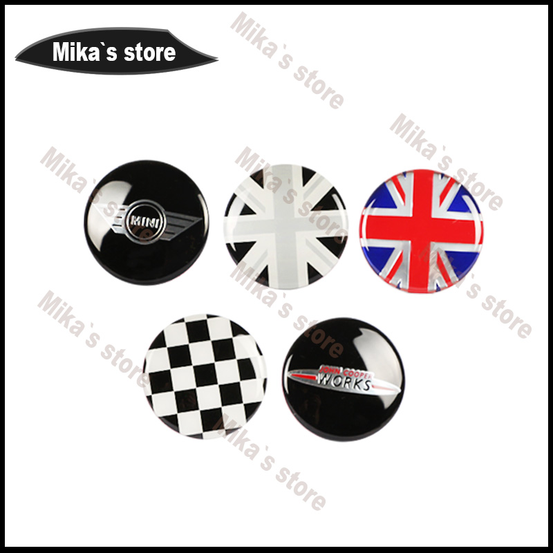 Hot sale 4pcs For mini cooper car-styling Outdoor Rim Wheel Hub Sticker Center Cap Sticker car styling