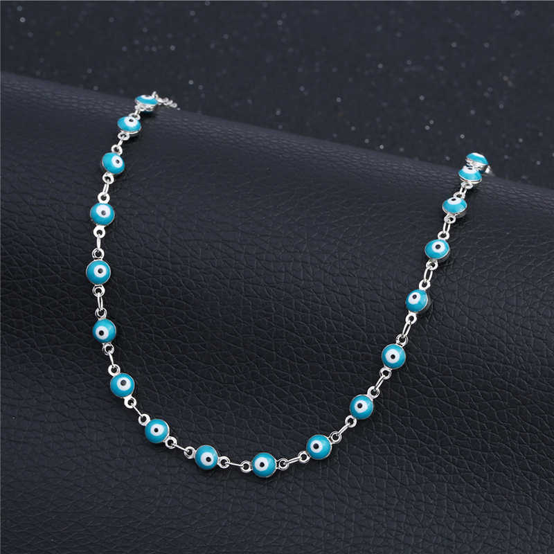 925 Sterling Silver Evil Eye obrączki dla kobiet moda Handmade stóp koraliki bransoletka bijoux Femme etniczne obrączki biżuteria 2B146