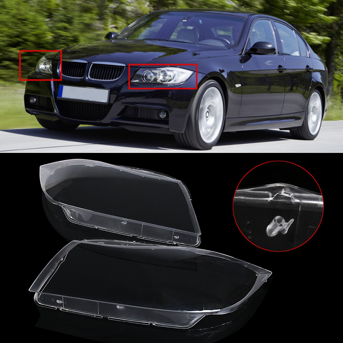 Brand new Left/Right Clear Headlight Headlamp Lens Cover for BMW 3 Series E90 2006 2007 2008 2009 2010 2011 2012