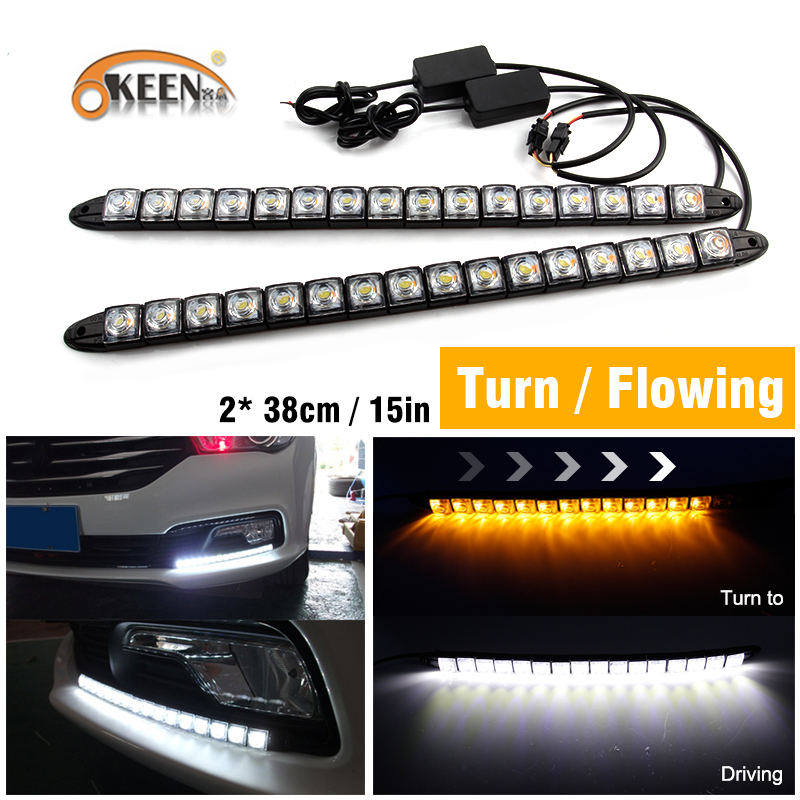 все цены на OKEEN sequential led flowing angel eyes 16LED yellow Turn Signal Daytime Running Lights 2x Stretchable White/Yellow Strip Light
