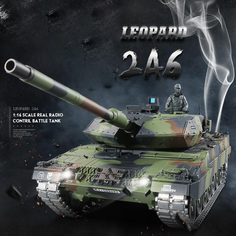 HengLong RC Tank Leopard 2A6 Armored Vehicle 2.4G Radio Control Battle Tank with BB/Smok/Sound Electronic Model Toy Hobby white tank top with leopard minnie print leopard ruffles
