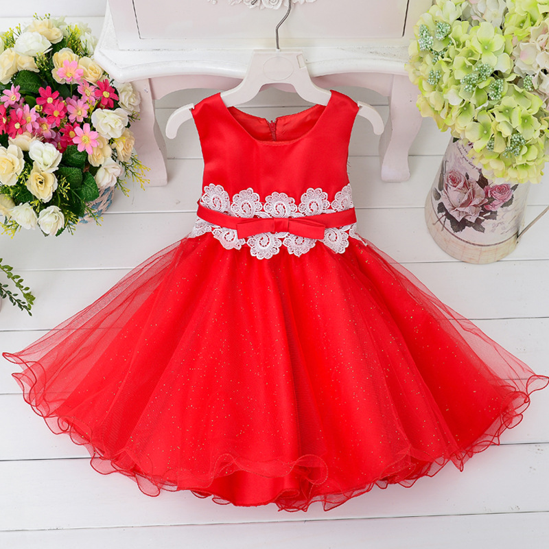 Hot Sale Children wedding party dresses Girl formal clothes summer style Baby girls red dress with bow Lace dress for 2-10years hot sale summer 2016 girl dress princess girls dress baby kids clothes long sleeve lace dresses wedding party children clothing