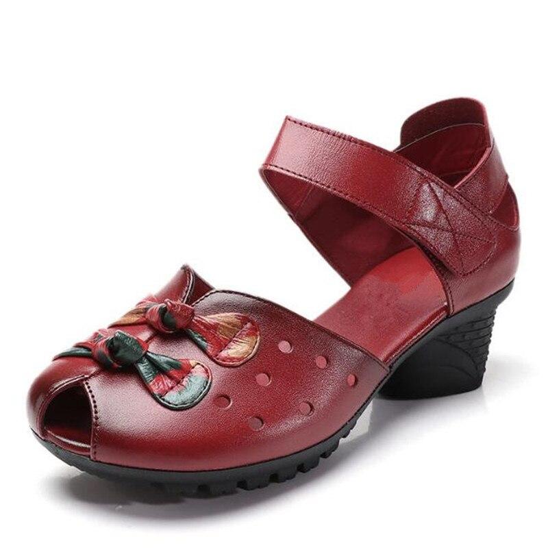 La De Femme Chaussures Véritable 2018 Femmes Nouvelle Noir rouge pourpre D'été Plus Danse Zxryxgs Mode Creux Sandales Cuir En Taille Marque nPCgqP