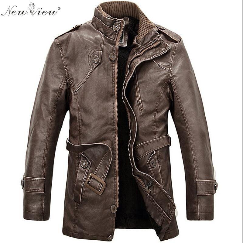Aliexpress.com : Buy 2017 PU Leather Jacket Men Long Wool Leather ...