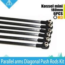 1 set Rostock Delta Kossel mini 215mm ID :3 mm and Rod OD: 5mm 180mm Arms Carbon Diagnonal push rods full Kit Rod for 3d printer
