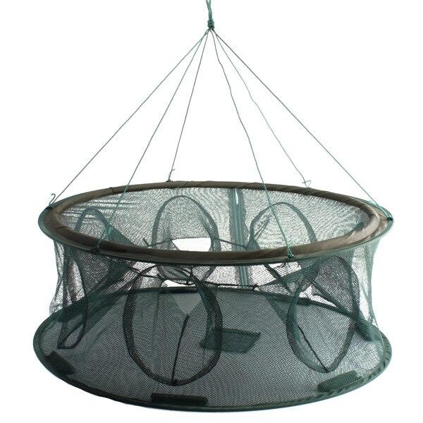 Hot sale Portable Mesh Minnow Foldable Fishing Trap Baits Cast Net Crab Fish Shrimp Minnow 7 entrances 70x30cm