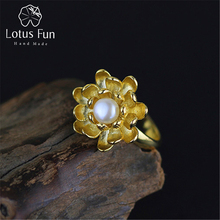 Lotus Fun Real 925 Sterling Silver Natural Pearl Handmade Designer Fine Jewelry Blooming Lotus Flower Rings for Women Bijoux