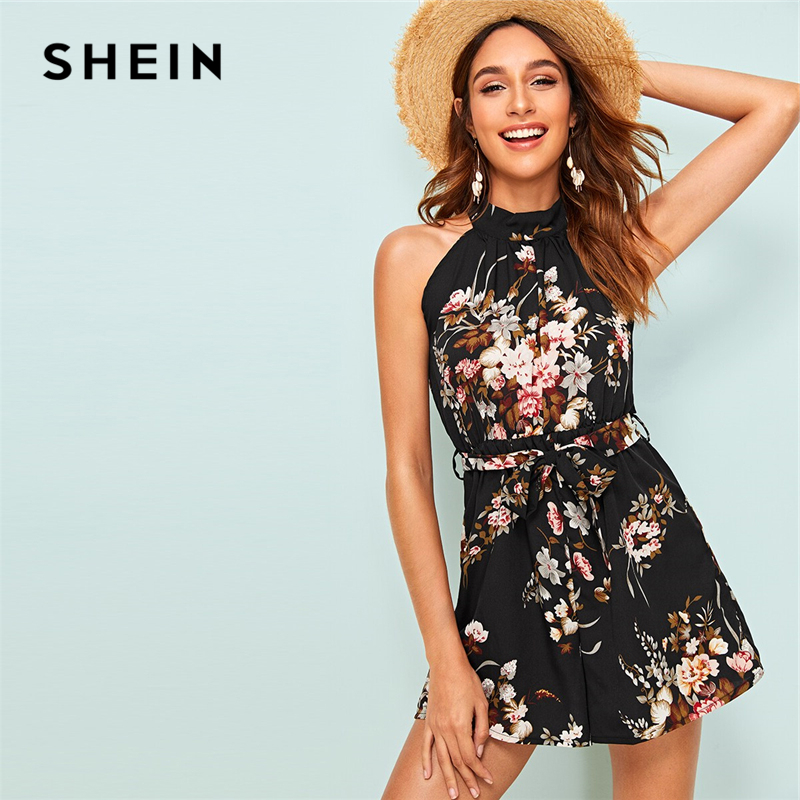 SHEIN Floral Print Tie Back Belted Halter Playsuit 2019 Boho Black Summer Sleeveless High Waist Women Clothing Playsuit